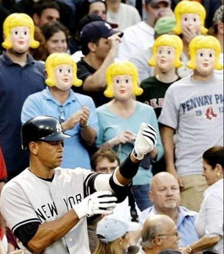 Fans Taunt Alex Rodriguez With Joslyn Noel Morse Masks; Wife Apparently Cool With Everything