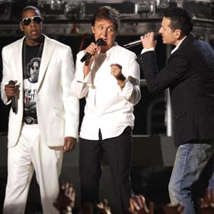 2006 Grammy Awards, Jay-Z, left, Paul McCartney, centre, and Chester Bennington, of Linkin Park, Image from The Guardian