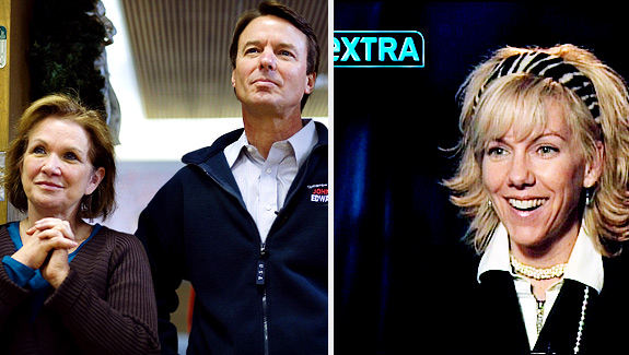Former Democratic Presidential hopeful John Edwards and his wife, Elizabeth. Lienemann/AP, left; Lisa Druck (aka Rielle Hunter), right.)