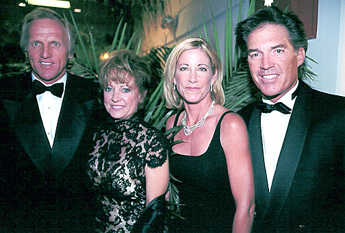Greg Norman & wife, Laura with Chris Evert & husband Andy Mill at the Black Tie Dinner, 2001