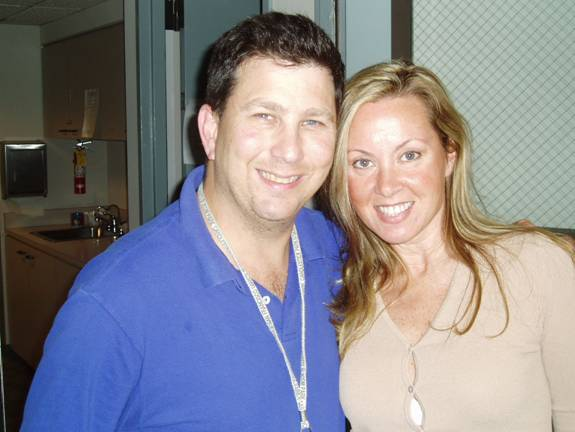 author at KGO studio in San Fran, 2005, with producer, Mark