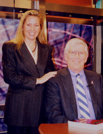 author at TV studio with host, Lee Leonard