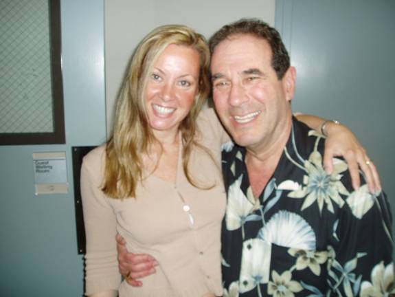 author at KGO studio in San Fran, 2005, with host, Ronn Owens