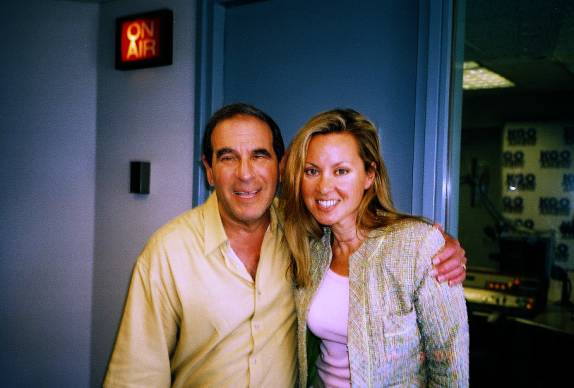 author at KGO studio in San Fran, 2004, with host, Ronn Owens