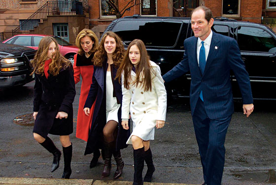 Elliot Spitzer, wife, Silda, and three daughters (in happier days)